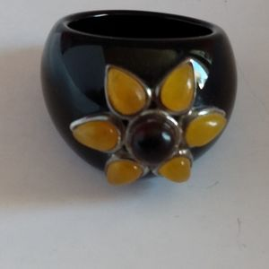 Vintage large Glass ring w colored stones SS